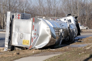 tractor trailer on it's side after accident