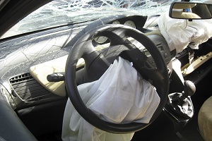 photo of deployed airbag from steering wheel