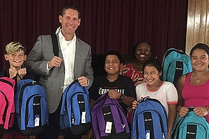 2017 Backpack Program Chad with many kids all holding backpacks