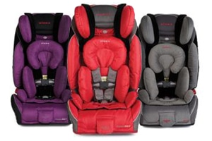 various color Diono Car Seats sitting against white background