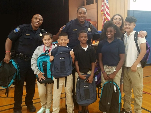 Gilcrease Police Department and Jackson Elementary Students