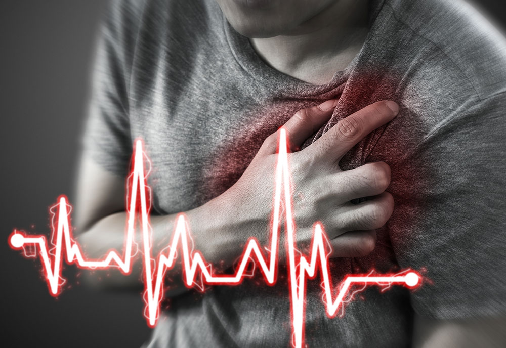 Severe heartache, man suffering from chest pain