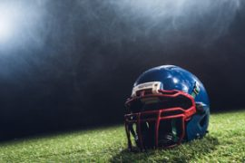 football helmet on field